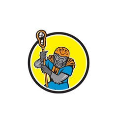 Gorilla Lacrosse Player Circle Cartoon vector