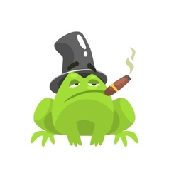 Green frog funny character with top hat and cuban vector