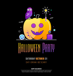 halloween party poster on black background vector image