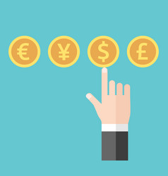 Hand choosing dollar currency vector
