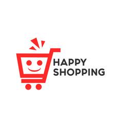 Happy shopping logo template design vector