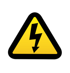 High voltage sign black arrow in yellow triangle vector