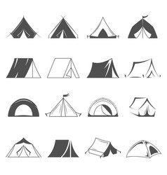 Hiking and camping tent icons tourism and vector