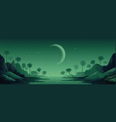 Jungle landscape night panoramic landscape vector