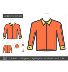 long sleeves shirt line icon vector image