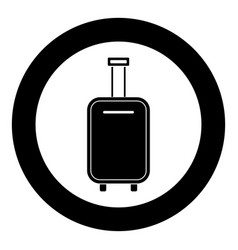 luggage bag black icon in circle isolated vector image