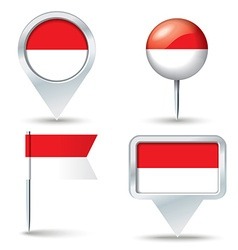 Map pins with flag of indonesia vector