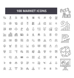 market editable line icons 100 set vector image