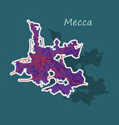 Mecca map saudi arabia sticker vector