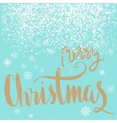 Merry Christmas gold lettering design on blue vector