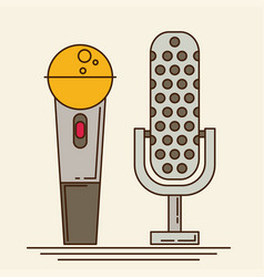 Microphone icons in flat style vector