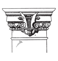 Modern doric pilaster capital doric vintage vector