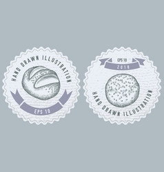 monochrome labels design with buns vector image