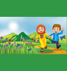 Nature scene background with muslim kids running vector