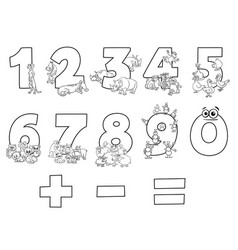 numbers collection with cartoon animals color book vector image