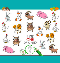 one a kind game with funny farm animal vector image