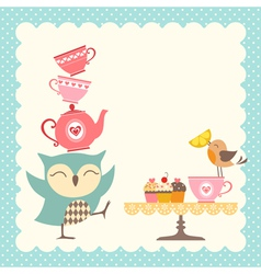 Owl tea time vector image