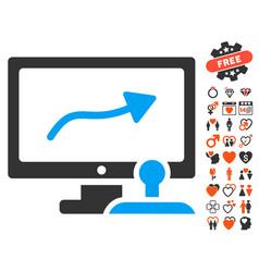 Path control monitor icon with dating bonus vector