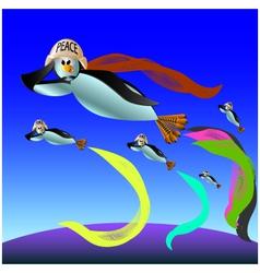 Penguin flies vector
