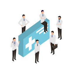people staff medical with medicine package vector image