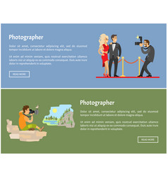 Photographer and paparazzi internet banners set vector