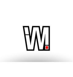 Red and black alphabet letter vm v m logo vector