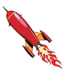 Retro rocket soars up vector