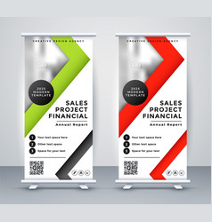 rollup business banner in geometric red and green vector image