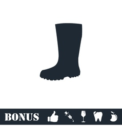 Rubber boots icon flat vector