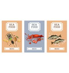 sea food menu cards realistic layout vector image