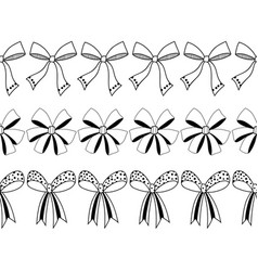 Set of black and white decorative bows ribbons vector