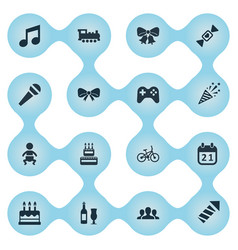 Set of simple birthday icons vector