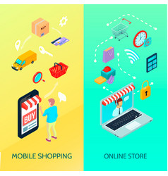 shopping ecommerce banner set vector image