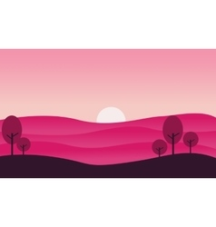 Silhouette of hill and sun landscape vector