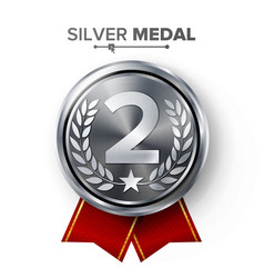 Silver 2st place medal metal realistic vector