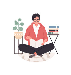 Smart student preparing for exam at home young vector