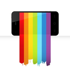 smartphone with rainbow paint vector image