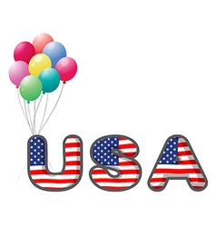 The USA letters with colorful balloons vector