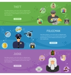 Theft Crime and Punishment Horizontal Banners vector image