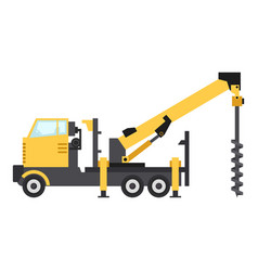 Truck drilling icon flat style vector