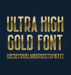 ultra high gold font isolated english alphabet vector image