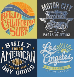Vintage t-shirt graphic set 2 vector