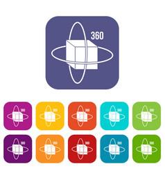 virtual cube icons set flat vector image