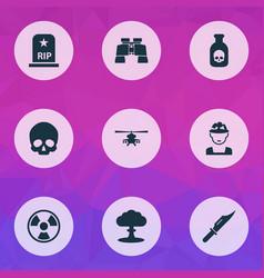 Warfare icons set collection cranium atom vector