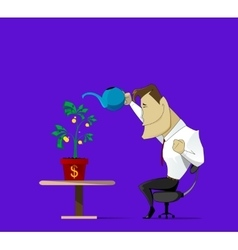 watering money flowers vector image