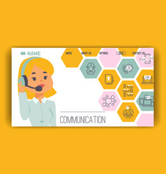 woman communication concept landing page icons vector image
