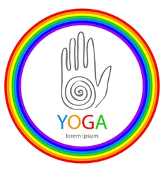 yoga in zentangle style Hand as emblem vector image
