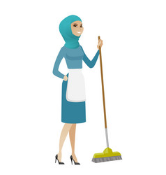 Young muslim housemaid sweeping floor with a broom vector