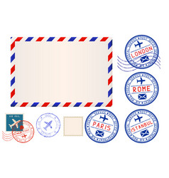 collection of postal elements envelope and stamp vector image vector image