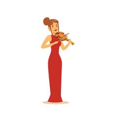elegantly dressed female musician playing violin vector image